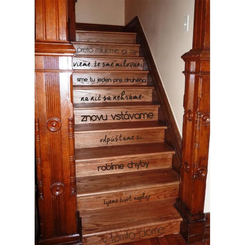 Nálepka na schody, na stenu V tomto dome